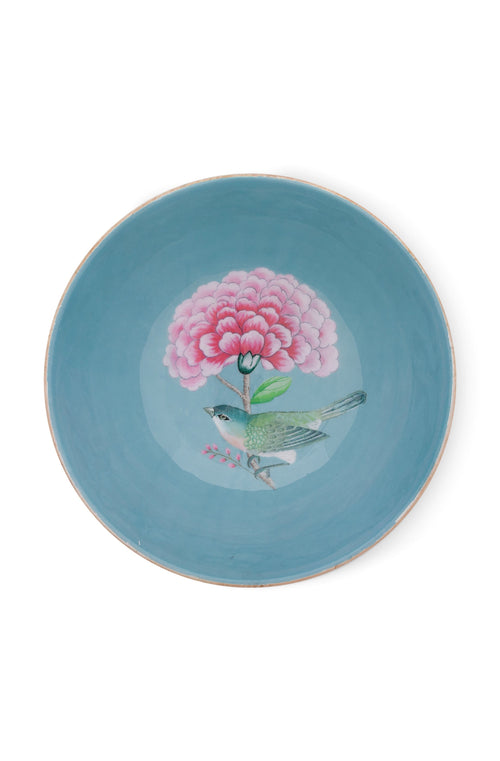 Pip Studio blue 32cm Blushing Birds wood enamelled bowl