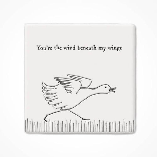 You're the Wind Beneath my Wings Square Ceramic Coaster - Daisy Park