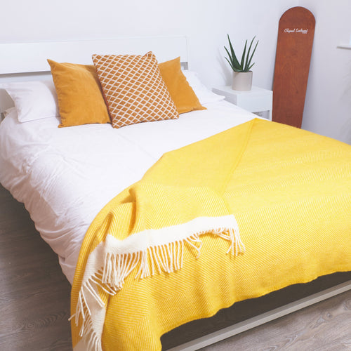 Yellow Herringbone wool blanket - Double - Daisy Park