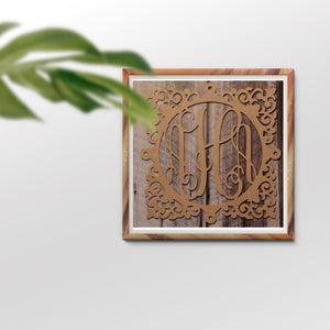 Addison Vine Three-Letter Monogram Square