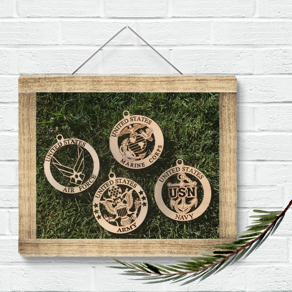 Five Dollar Deals Armed Forces Wood Ornaments