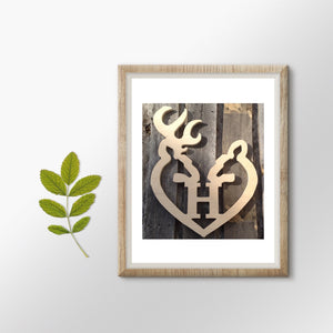Buck and Doe Single-Letter Monogram