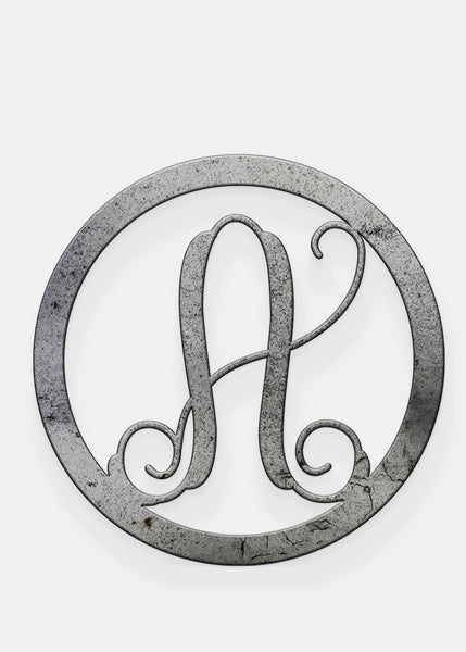 "Five Dollar Deals Metal Single Vine Letter Circle Monogram 12"" Style"