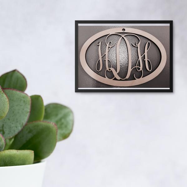 Classic Vine Oval Three-Letter Monogram