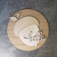 DIY Acorn hello Sign