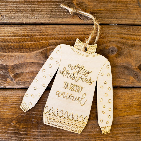 Christmas Sweater Ornament- Merry Christmas ya Filthy Animal