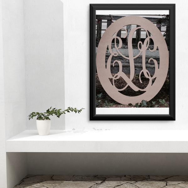 Oval Vine Three-Letter Monogram