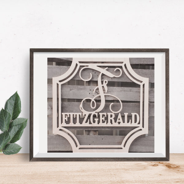 Plantation Single Vine Letter Family Monogram
