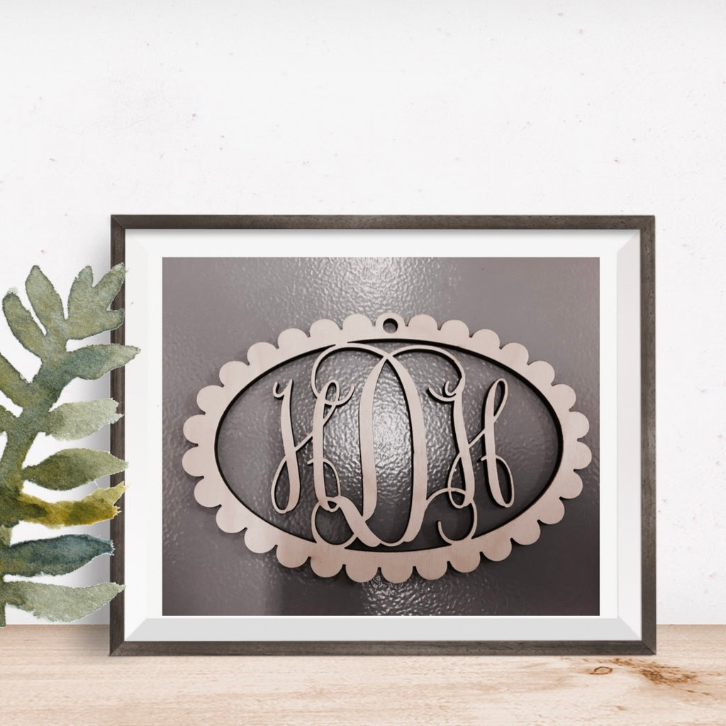Scalloped Oval Vine Three-Letter Monogram