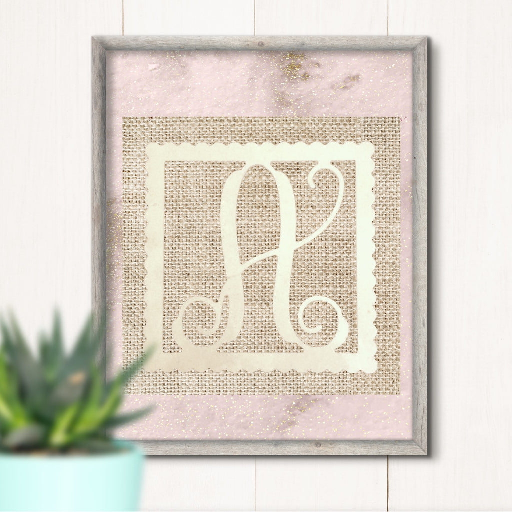 Scalloped Square Single Vine Letter Monogram