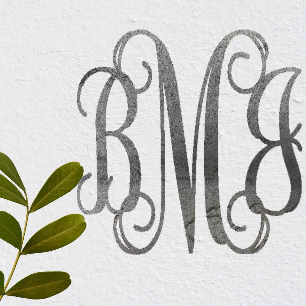 Classic Vine Three-Letter Monogram in Metal