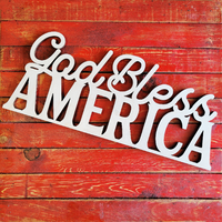 "Wooden God Bless America- Unfinished Wood Words- 16"" -- 5.99 !!!"
