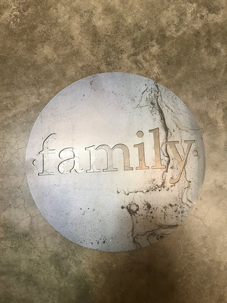Family in Metal- Round