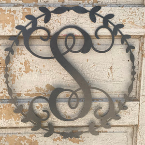 "2019 Doorbuster- 12"" Vine Single-Letter Monogram Wreath in Metal"