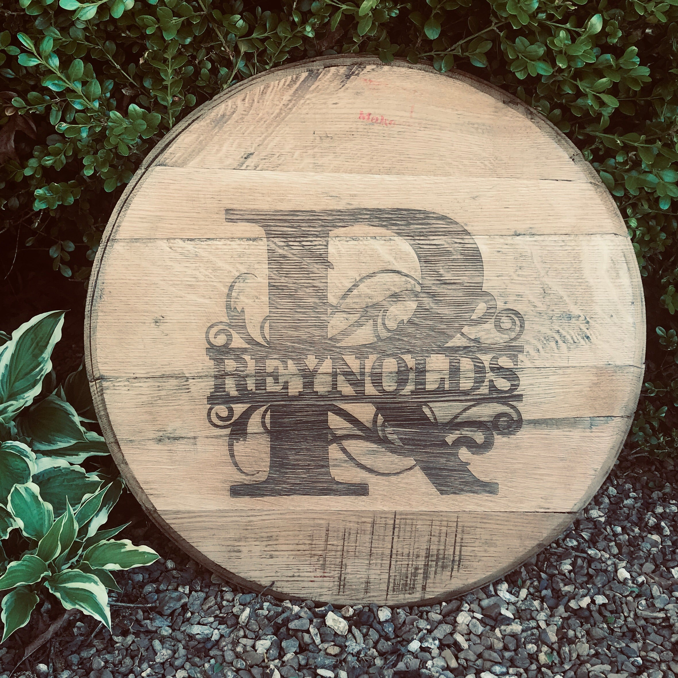 Bourbon Barrel Head-engraved