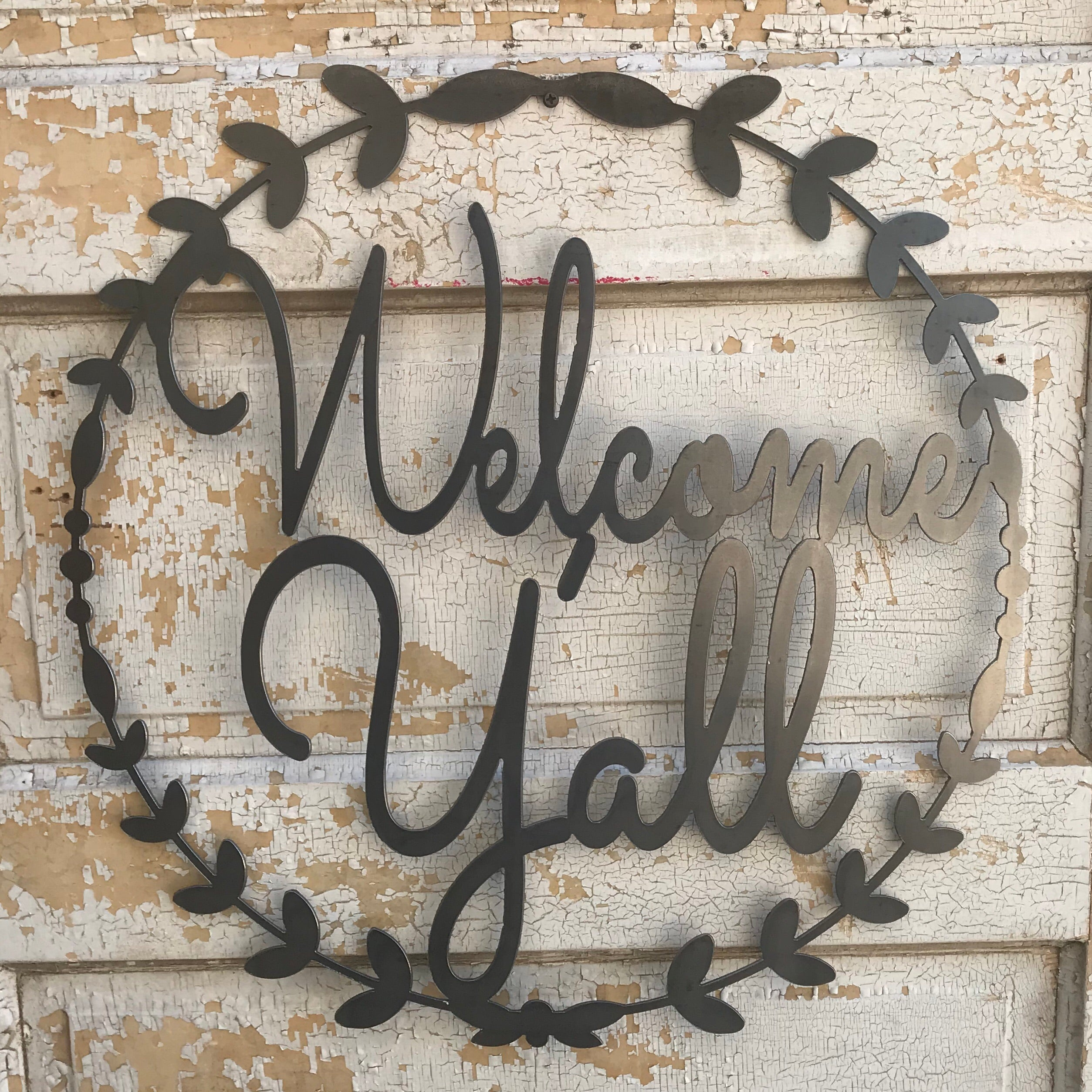 Welcome Y'all Metal Wreath