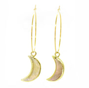 Abalone moon hoop earrings gold