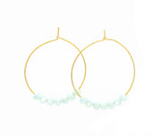 Baby blue glimmer beaded hoop earrings gold