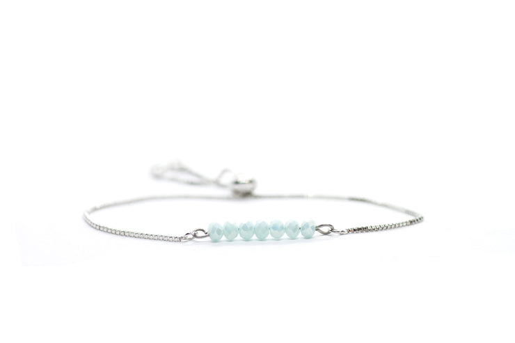 Baby blue glimmer beaded adjustable bracelet silver