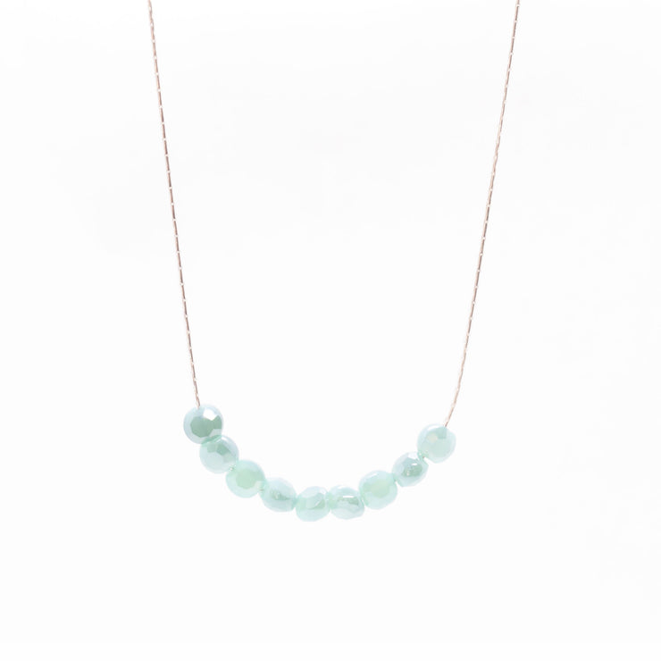 Glimmer baby blue beaded necklace silver