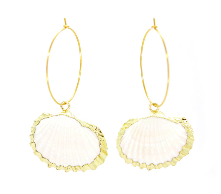 Gold cockle shell hoop earrings