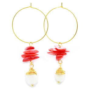 Pearl & Coral Stack Drop Hoops ~ Salty Shells