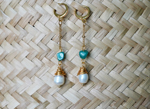Pearl & Jade Drop Hoops ~ Salty Shells