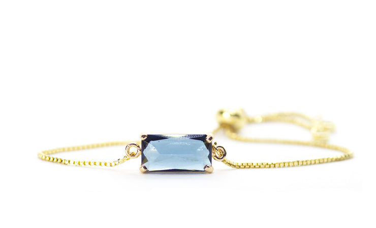 teal gem gold adjustable bracelet