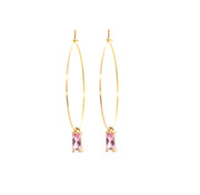 little pink gem hoop earrings
