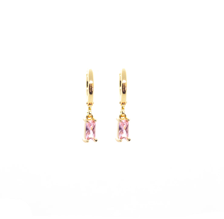 tiny little pink gem hoop earrings