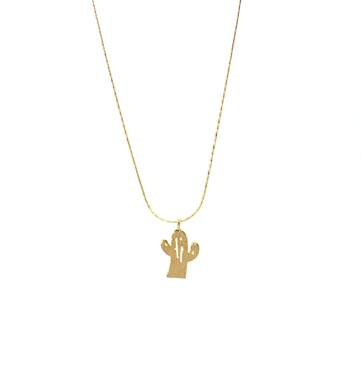Cactus pendant necklace gold