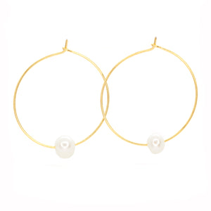 Fresh Water Single Pearl Hoops ~ Salty Shells