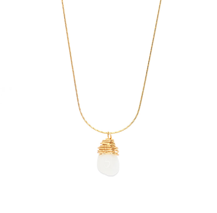 pearl wire wrapped necklace gold