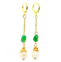 Load image into Gallery viewer, Pearl & Jade Drop Hoops ~ Salty Shells