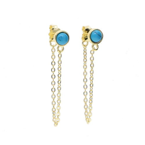 Stud chain turquoise earrings