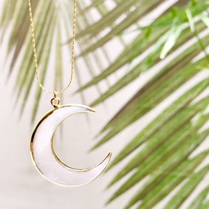 Large Abalone Moon Necklace- Salty Shells