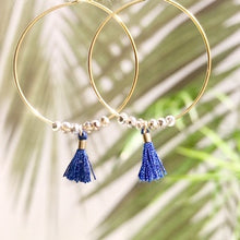 Load image into Gallery viewer, Dainty Navy Tassel Hoops