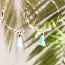 Load image into Gallery viewer, Dainty Minty Tassel Hoops