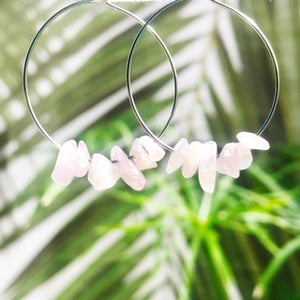 Rose Quartz Hoops ~ Salty Stones