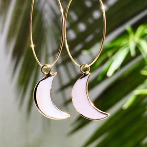 Abalone Moon Hoop Earrings - Salty Shells