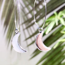 Load image into Gallery viewer, Abalone Moon Hoop Earrings - Salty Shells