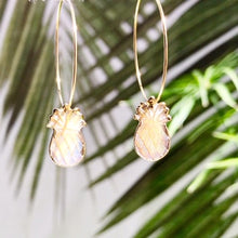 Load image into Gallery viewer, Abalone Pineapple Hoop Earrings - Salty Shells