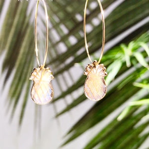 Abalone Pineapple Hoop Earrings - Salty Shells