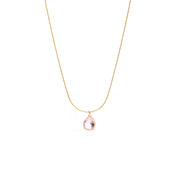teardrop crystal  pink gold necklace