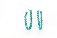 Load image into Gallery viewer, Turquoise Beaded Hoops ~ Salty Beads