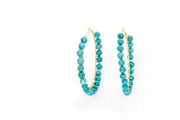 Turquoise Beaded Hoops ~ Salty Beads