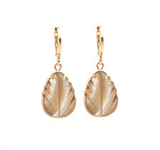 Mother Pearl Leaf Hoops ~ Salty Pendants