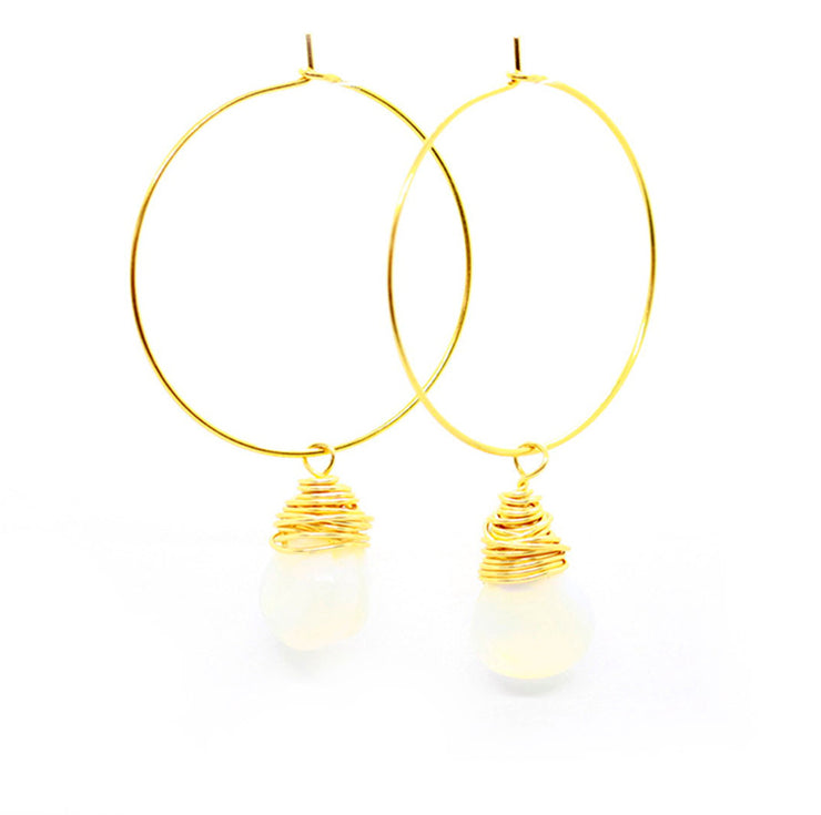 Glass Wrap Pearl Hoops ~ Salty Shells
