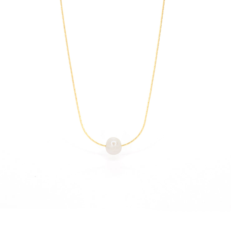single freshwater pearl necklace gold