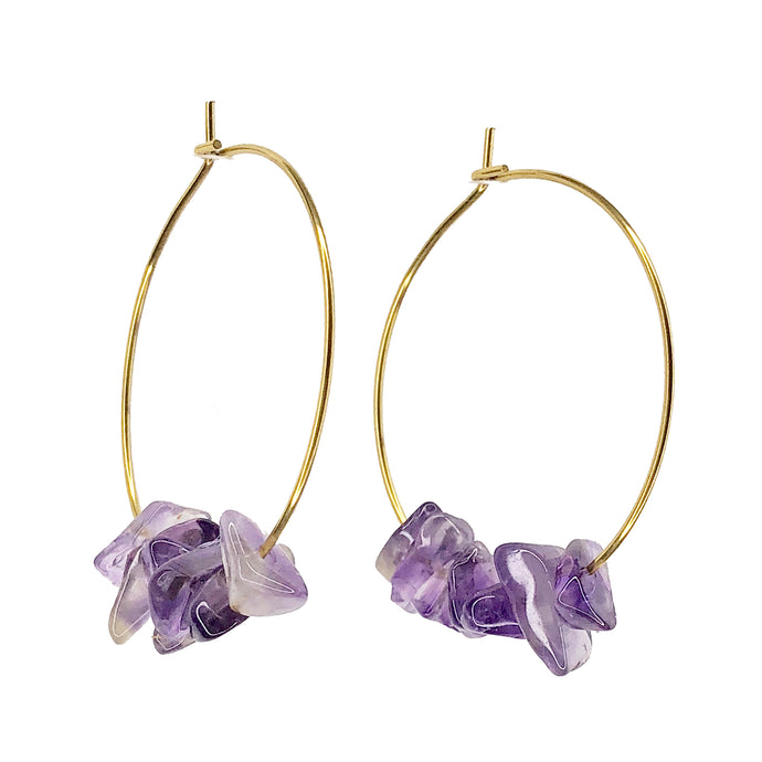 NEW!!! Amethyst Rock Candy Hoops ~ Salty Stones